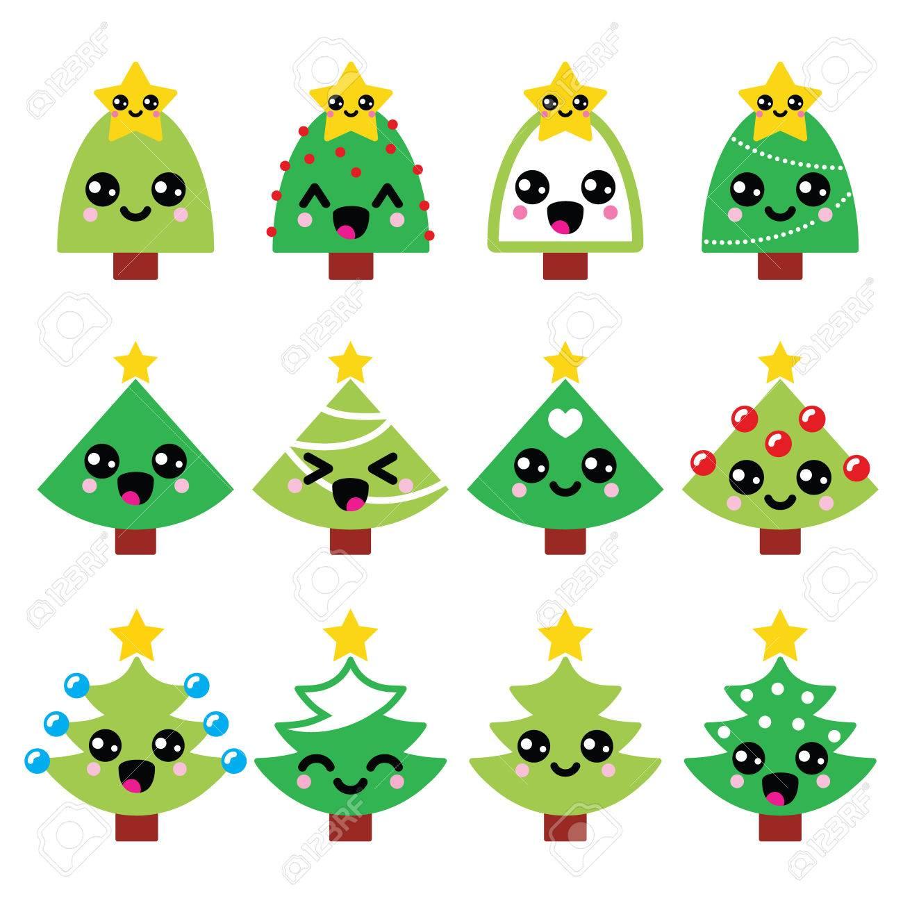 Cute Kawaii Christmas Green Tree With Star Vector Icons Set Royalty ...
