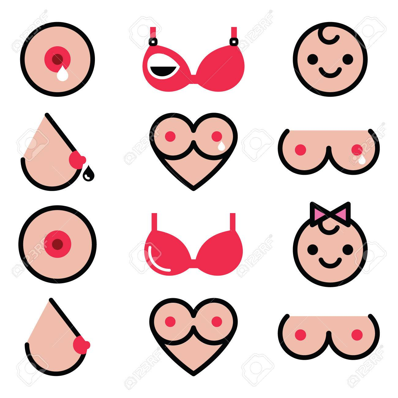 Breastfeeding, lactation, women's colorful icons set - 50046332