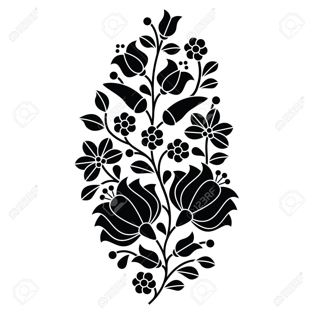 Hungarian Black Folk Pattern - Kalocsai Embroidery With Flowers ...