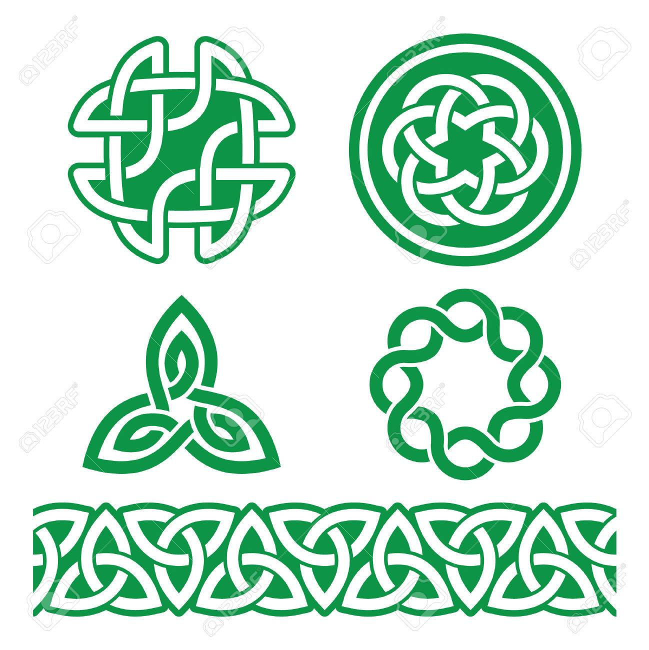 Celtic Irish green patterns and knots - vector, St Patrick's Day - 50046338