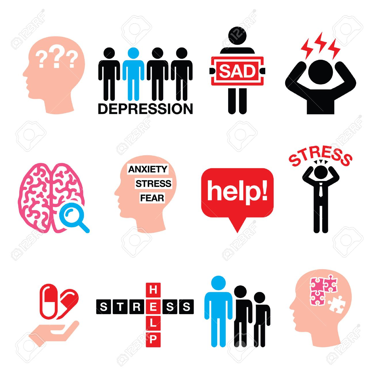 Depression Stress Icons Set Mental Health Concept Royalty Free