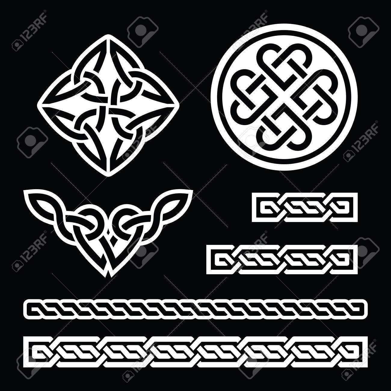Celtic irish patterns and braids vector st patricks day on celtic irish patterns and braids vector st patricks day on black stock vector buycottarizona Image collections