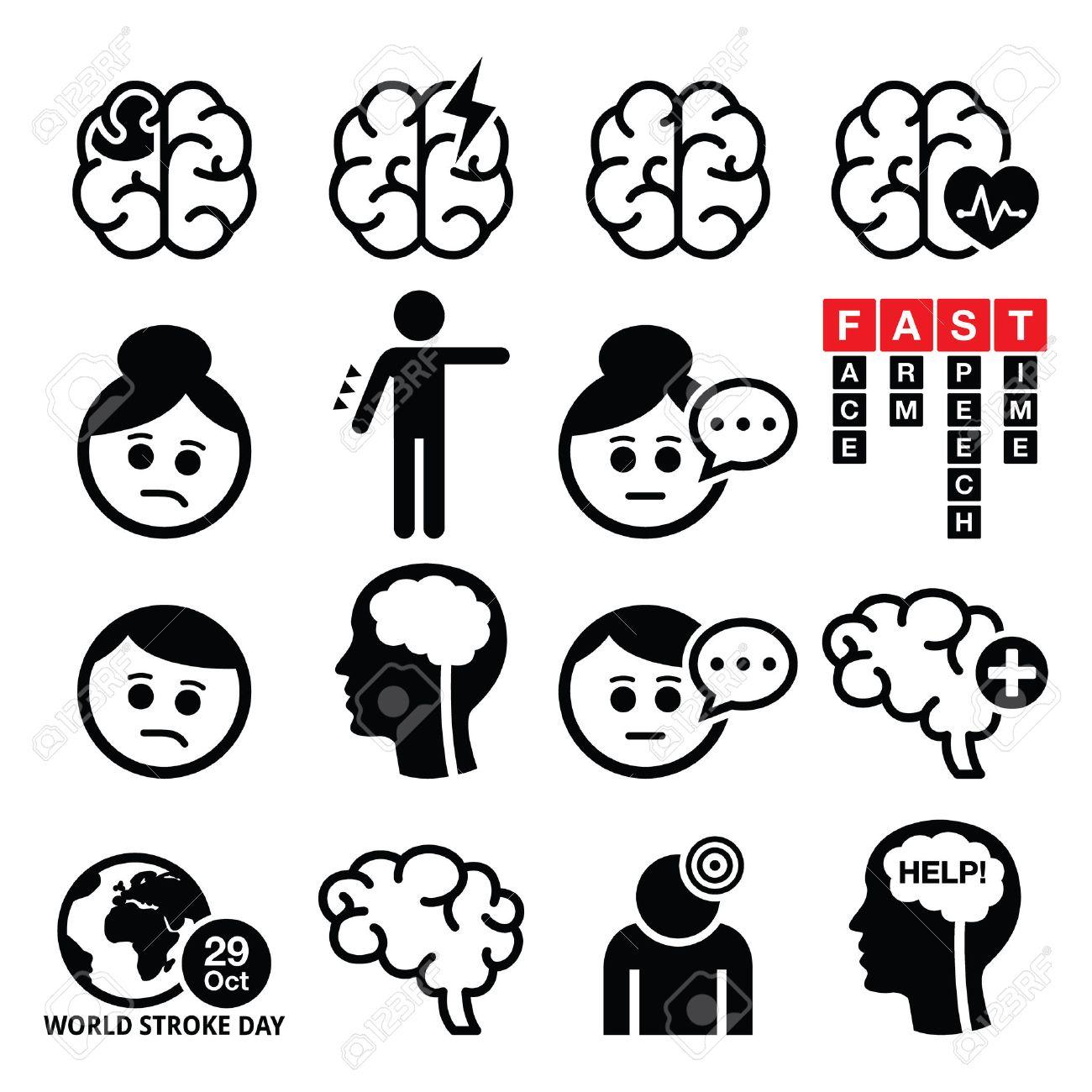 Brain stroke icons - brain injury, brain damage concept - 52184727