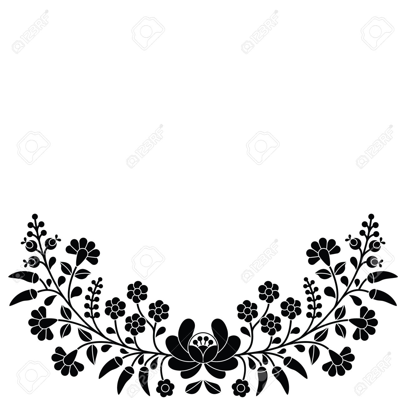 Hungría Negro Patrón Floral Popular - Bordado Kalocsai Con Flores Y ...