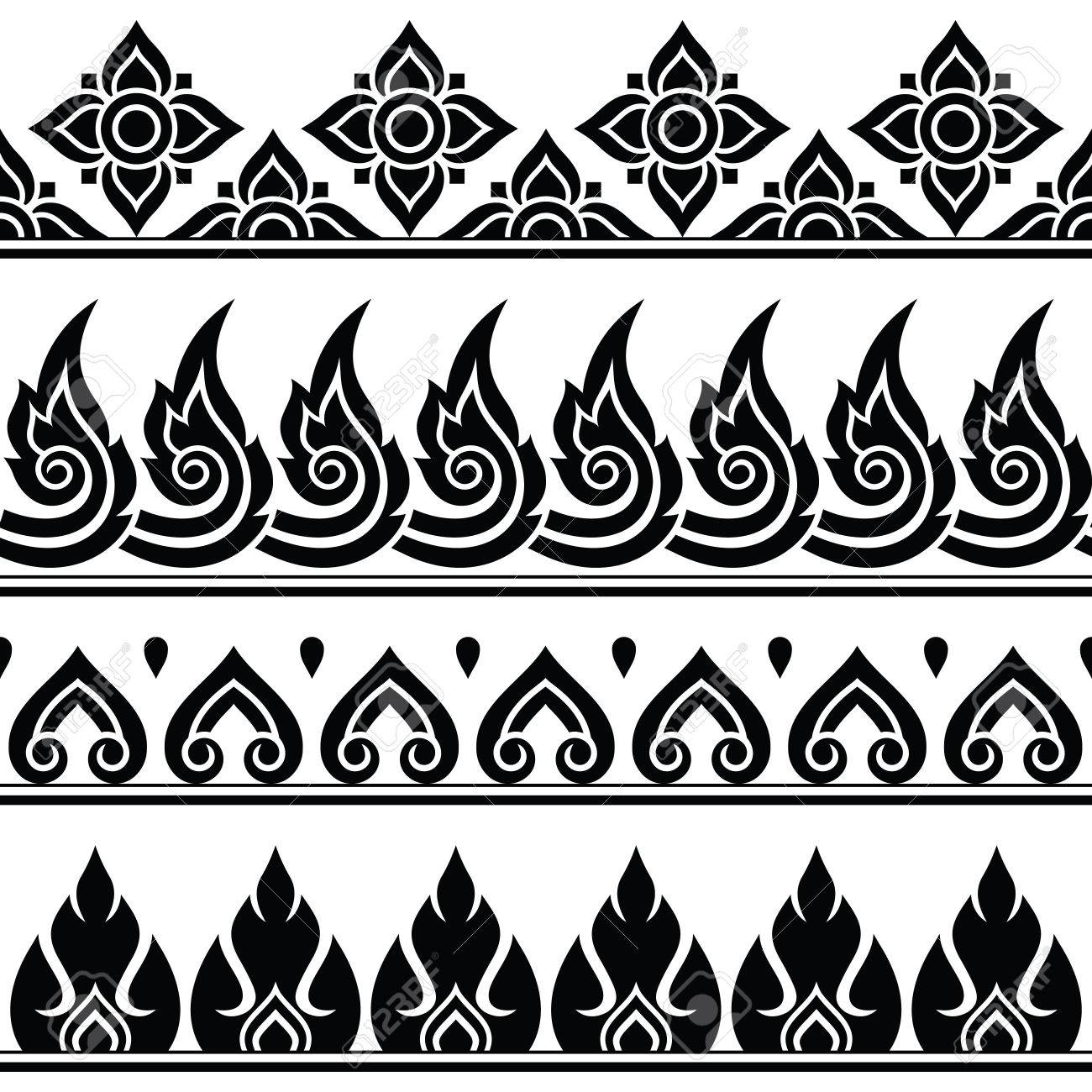 Seamless Thai Pattern Repetitive Design From Thailand Folk