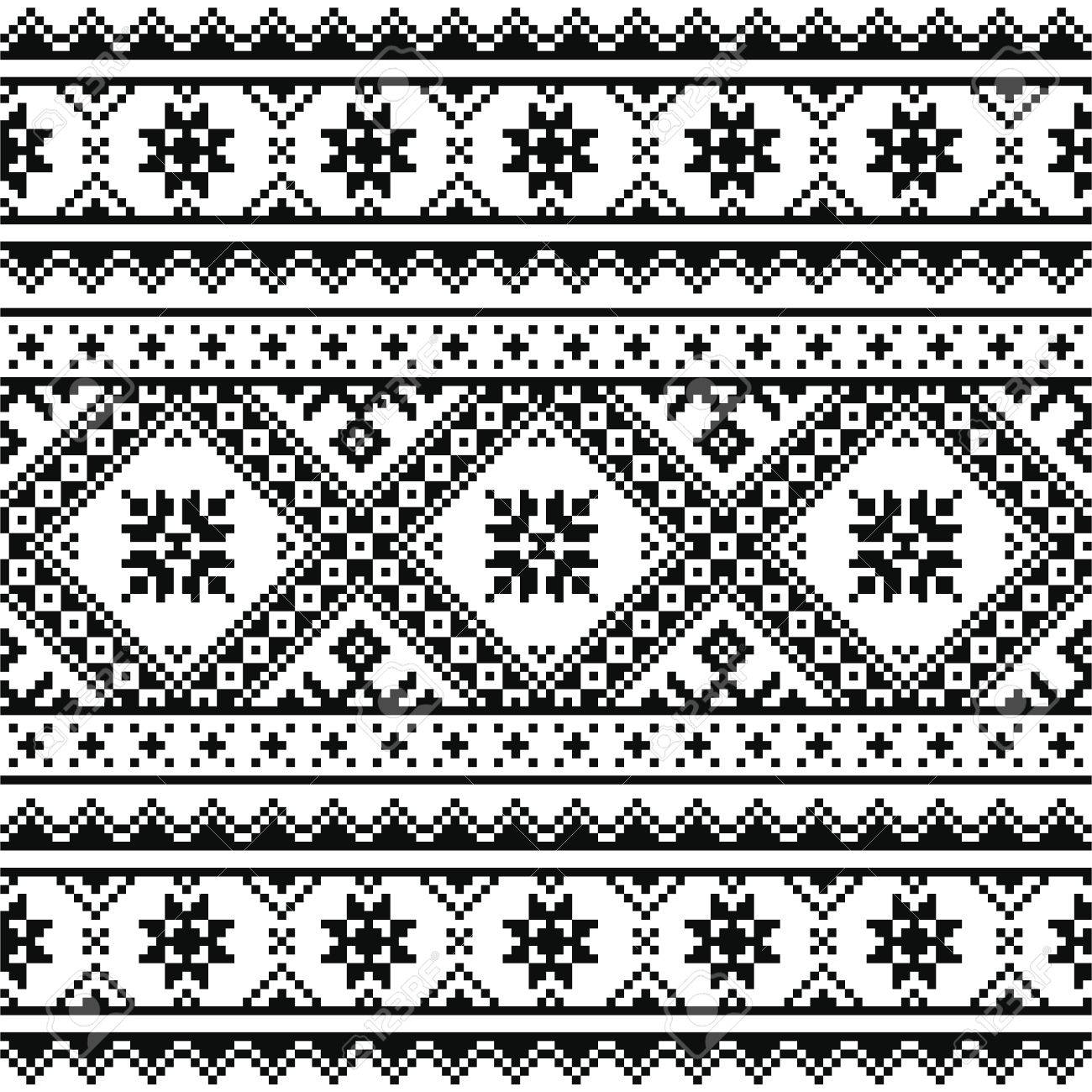 Traditional Folk Knitted Black Embroidery Pattern From Ukraine ...