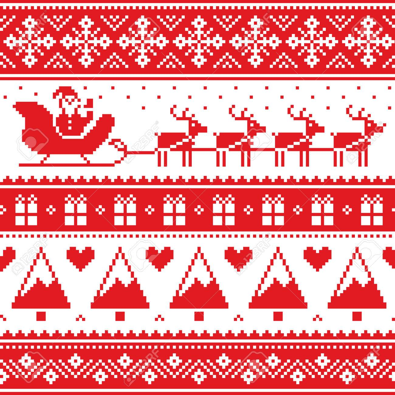 c91e3e570a9d Christmas jumper or sweater seamless red pattern with Santa and reindeer  Stock Vector - 56911074
