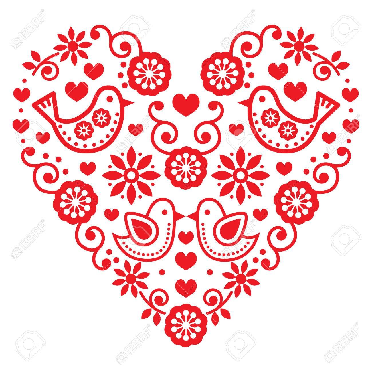 Volkskunst Valentinstag Herz Liebe Hochzeit Geburtstag Grusskarte