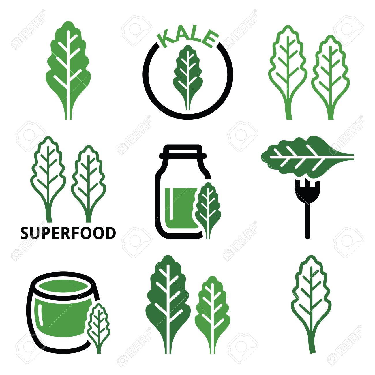 Superfood - kale leaves green icons set - 59597332
