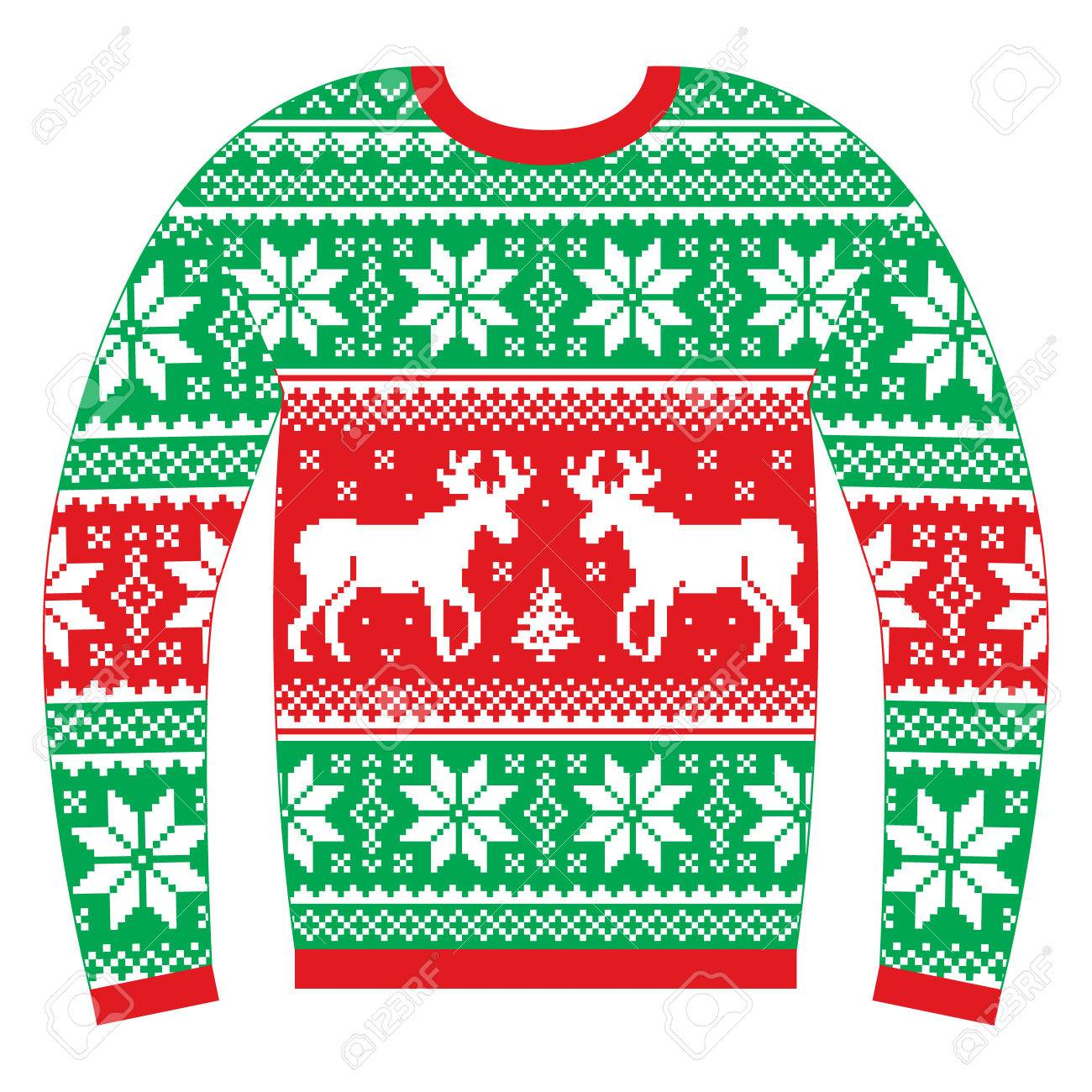 1621a4a5c Ugly Christmas jumper or sweater with reindeer and snowflakes red and green  pattern Stock Vector -