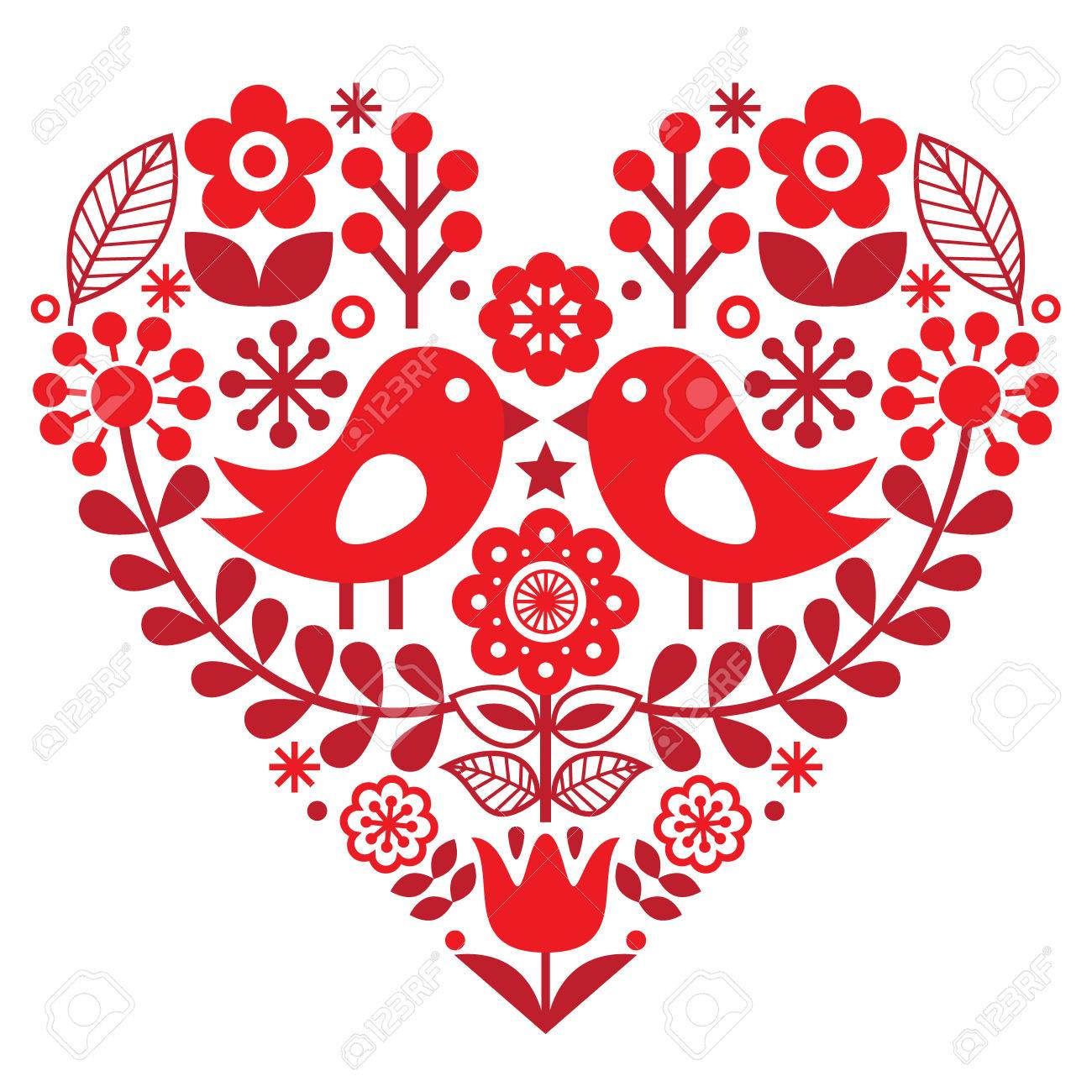 Valentine's Day folk pattern with birds and flowers - Finnish inspired - 66444438