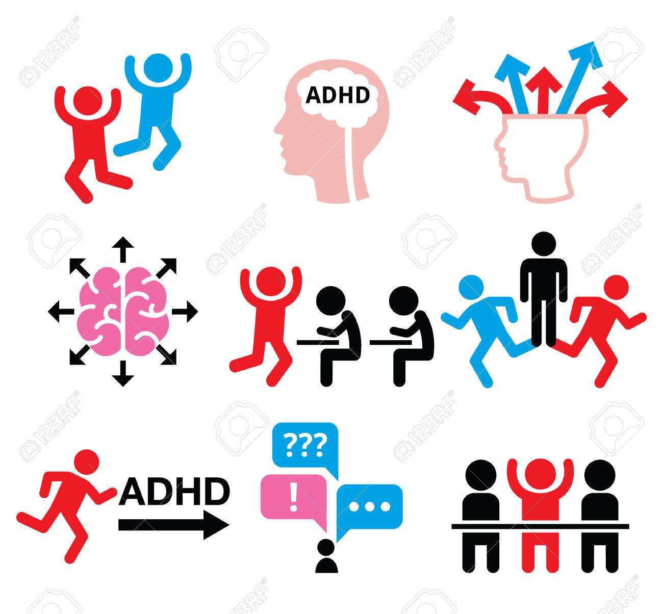 ADHD - Attention deficit hyperactivity disorder vector icons set - 68431516