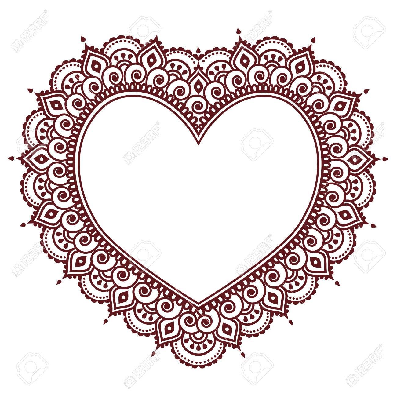 valentinstag grukarte mit herz mehndi indisches henna tattoo muster standard bild - Henna Tattoo Muster