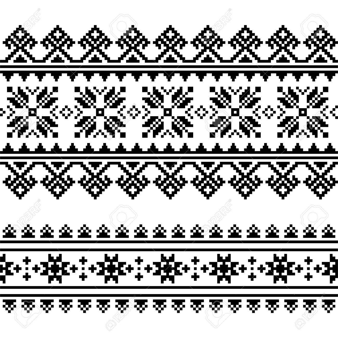 Patrón De Bordado Ucraniano Popular Tradicional En Blanco Y Negro ...