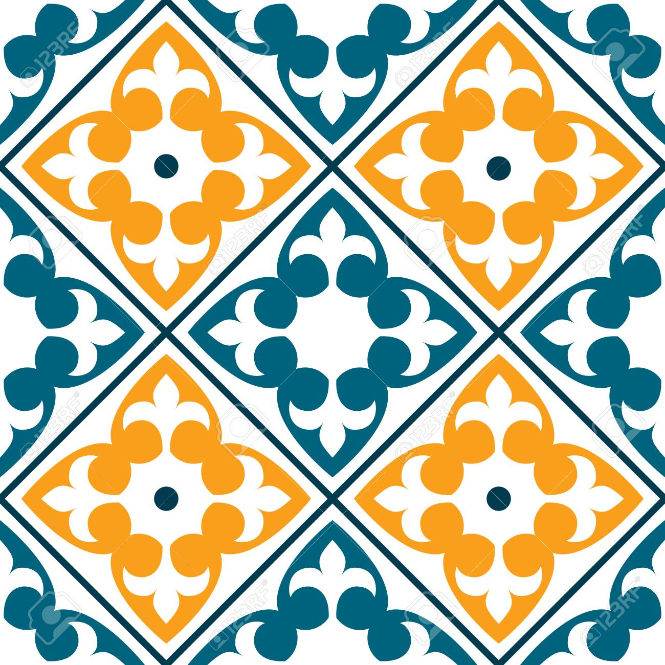 Spanish Or Portuguese Azulejo Design And Moroccan Design Seamless Royalty Free Cliparts Vectors And Stock Illustration Image 74338443