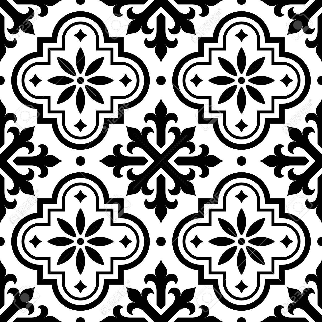 Spanish Azulejo Design And Moroccan Tiles Design Seamless Black