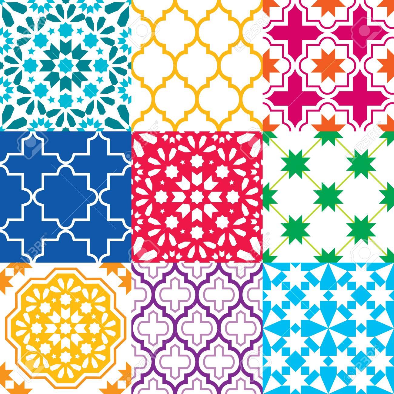 Marokkanische Fliesen Design, Nahtlose Geometrische Muster ...