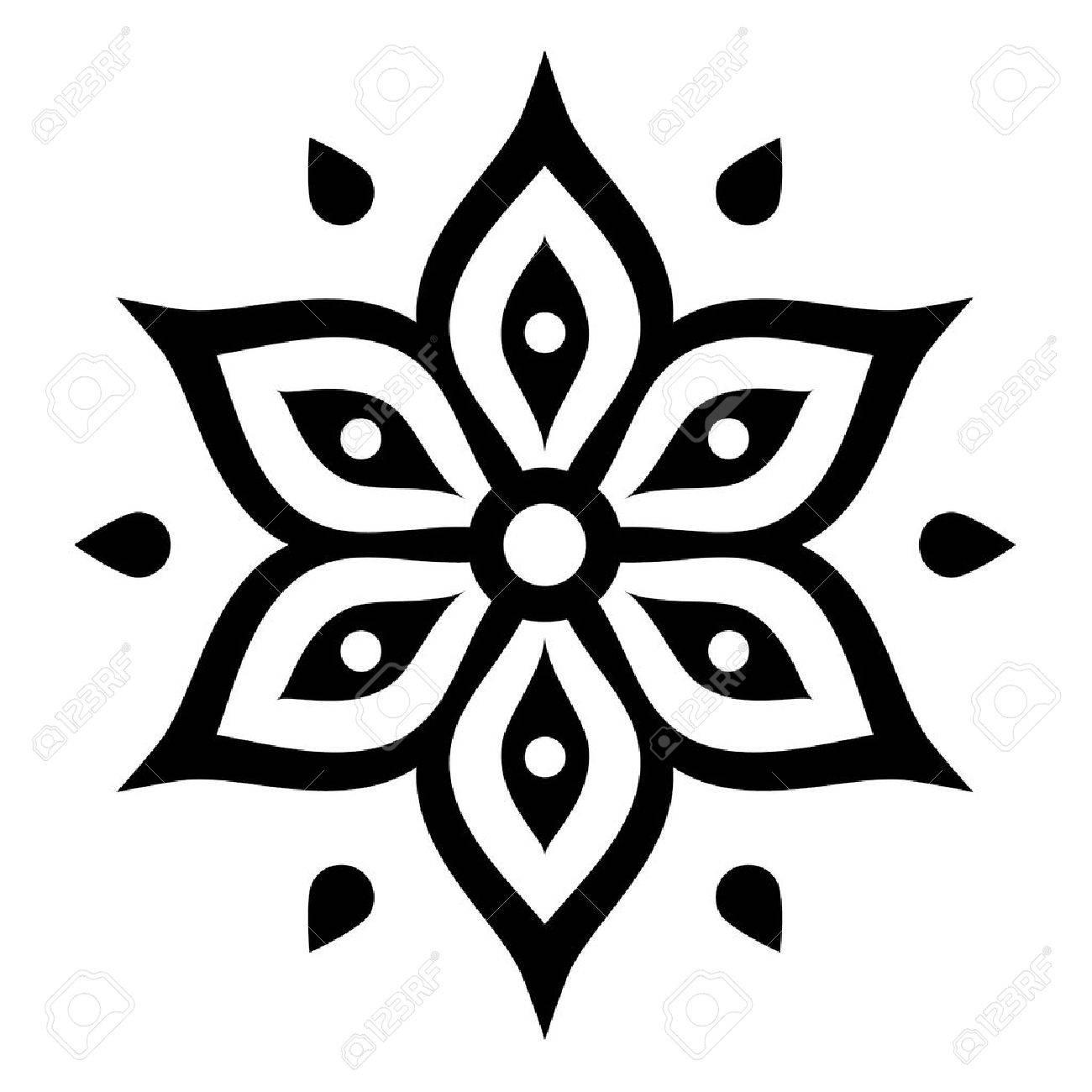 Boho Flower Design Inspired By Mehndi Indian Henna Tattoo Royalty