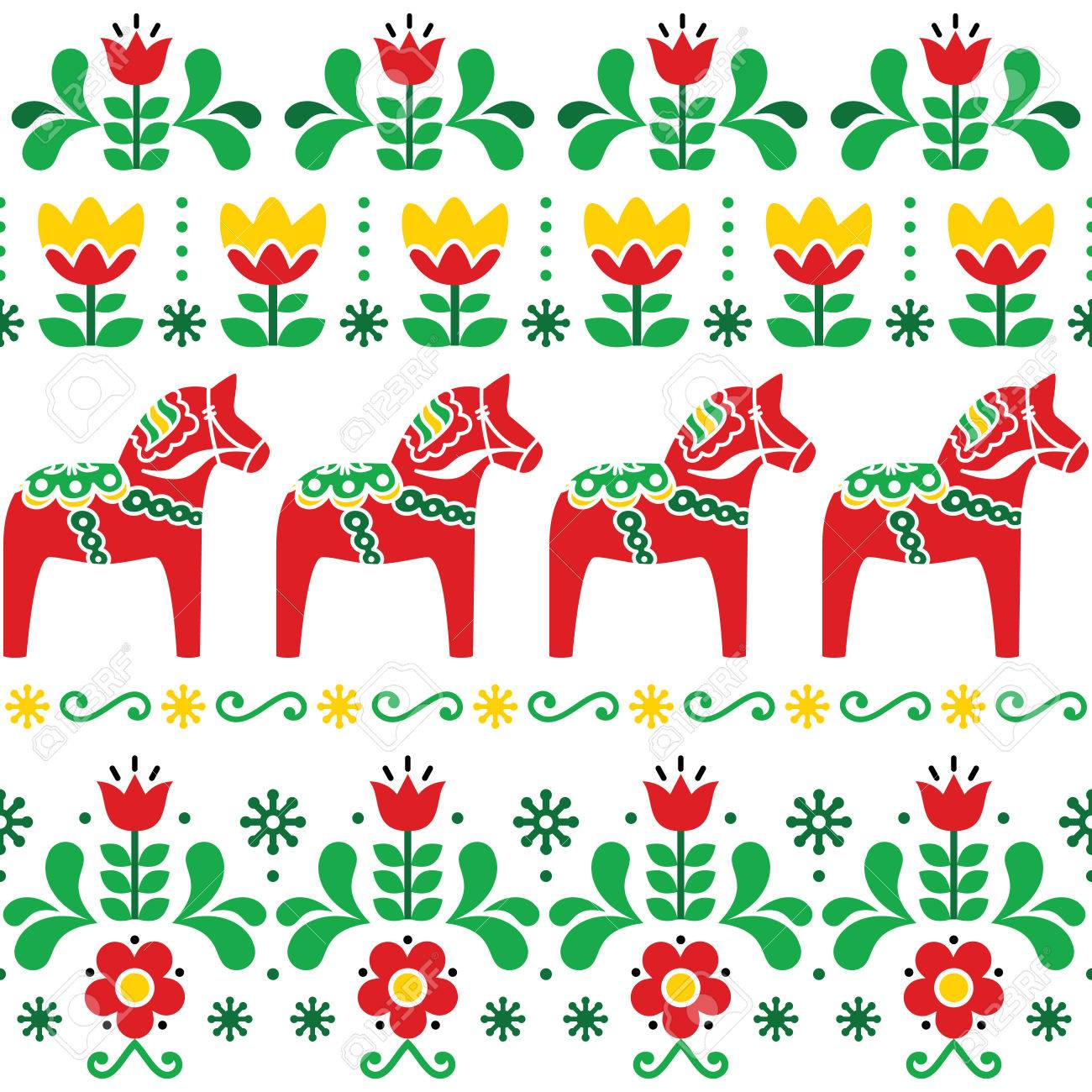 Swedish Dala Horse Pattern Scandinavian Seamless Folk Art Design Royalty Free Cliparts Vectors And Stock Illustration Image 80914760