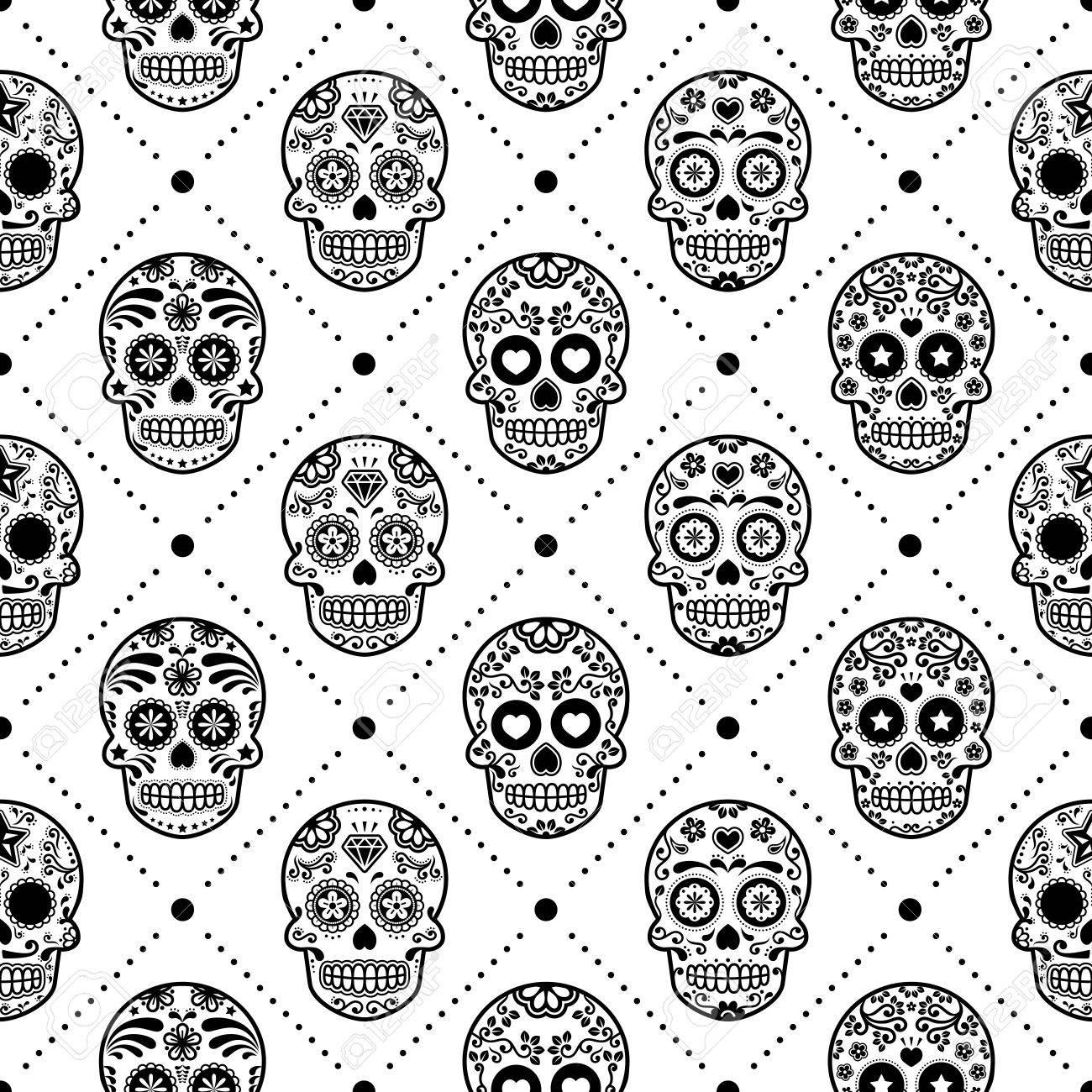 21063c71224 Halloween seamless pattern, Mexican sugar skull vector design,..