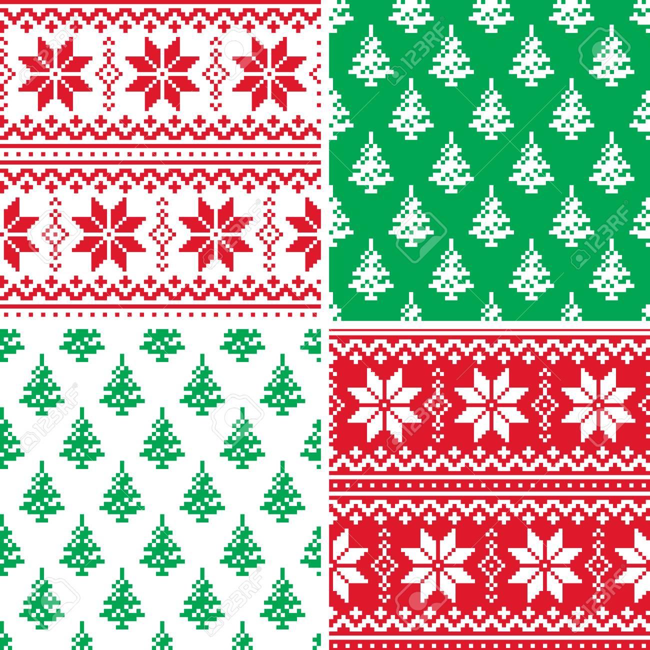 Colección De Puntos De Cruz De Patrón De Navidad, Diseño De Invierno ...