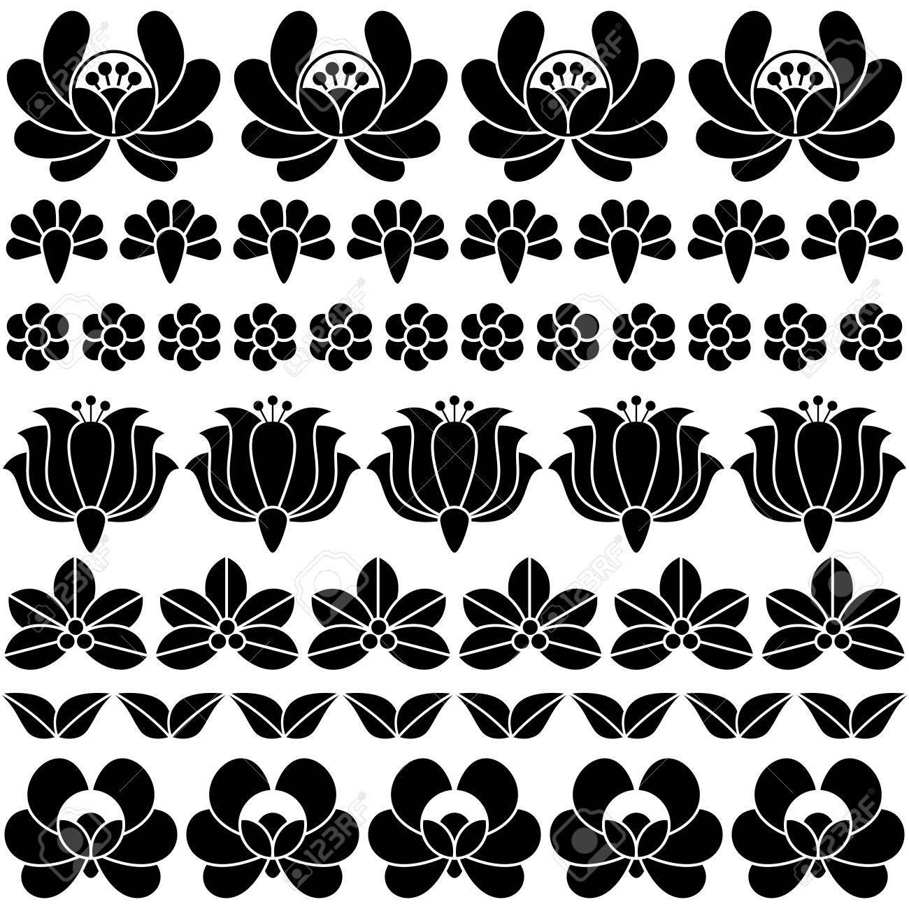 Un Patrón Húngaro Negro Inconsútil Del Arte Popular - Bordado Floral ...