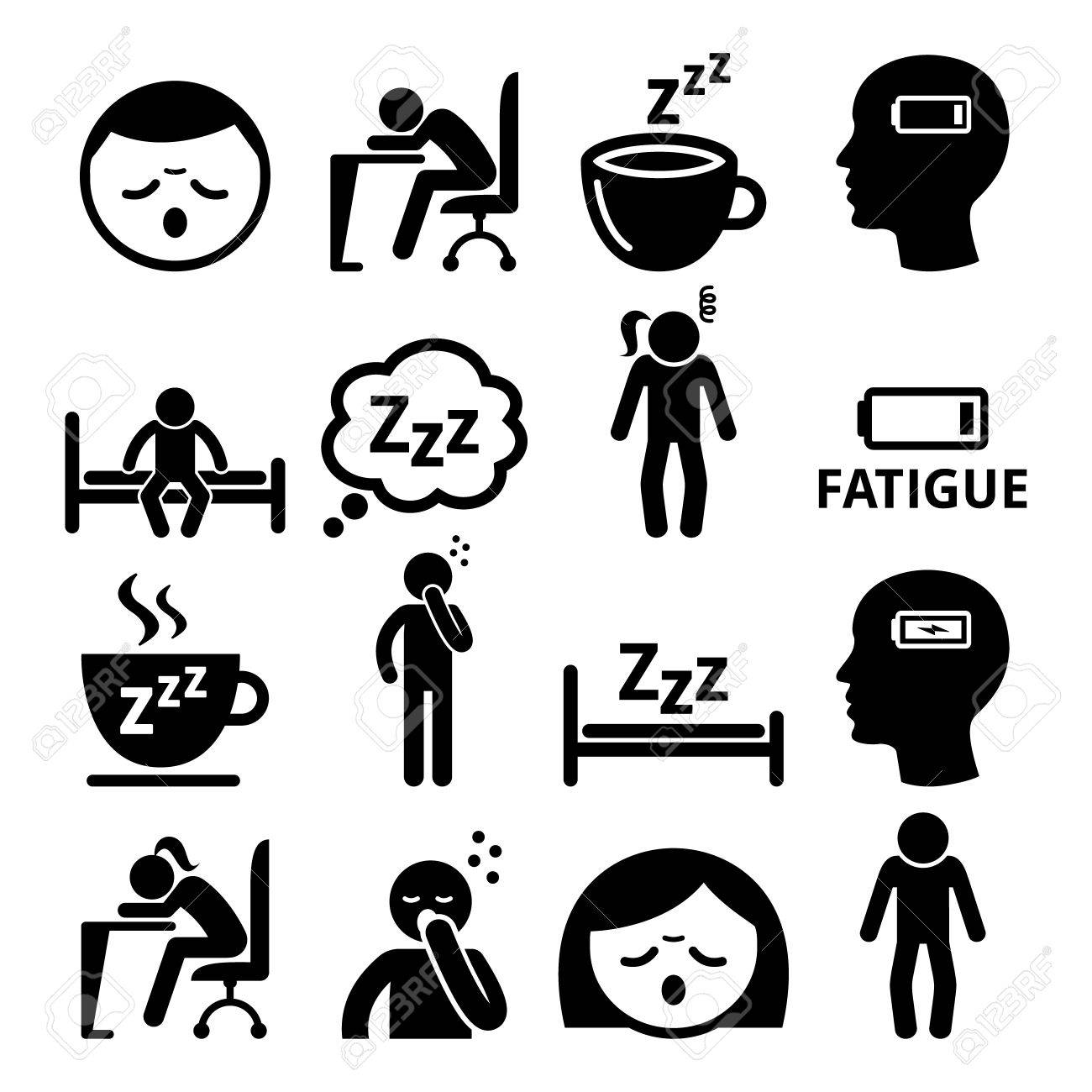 Run-down, sick people icons set isolated on white - 81365216