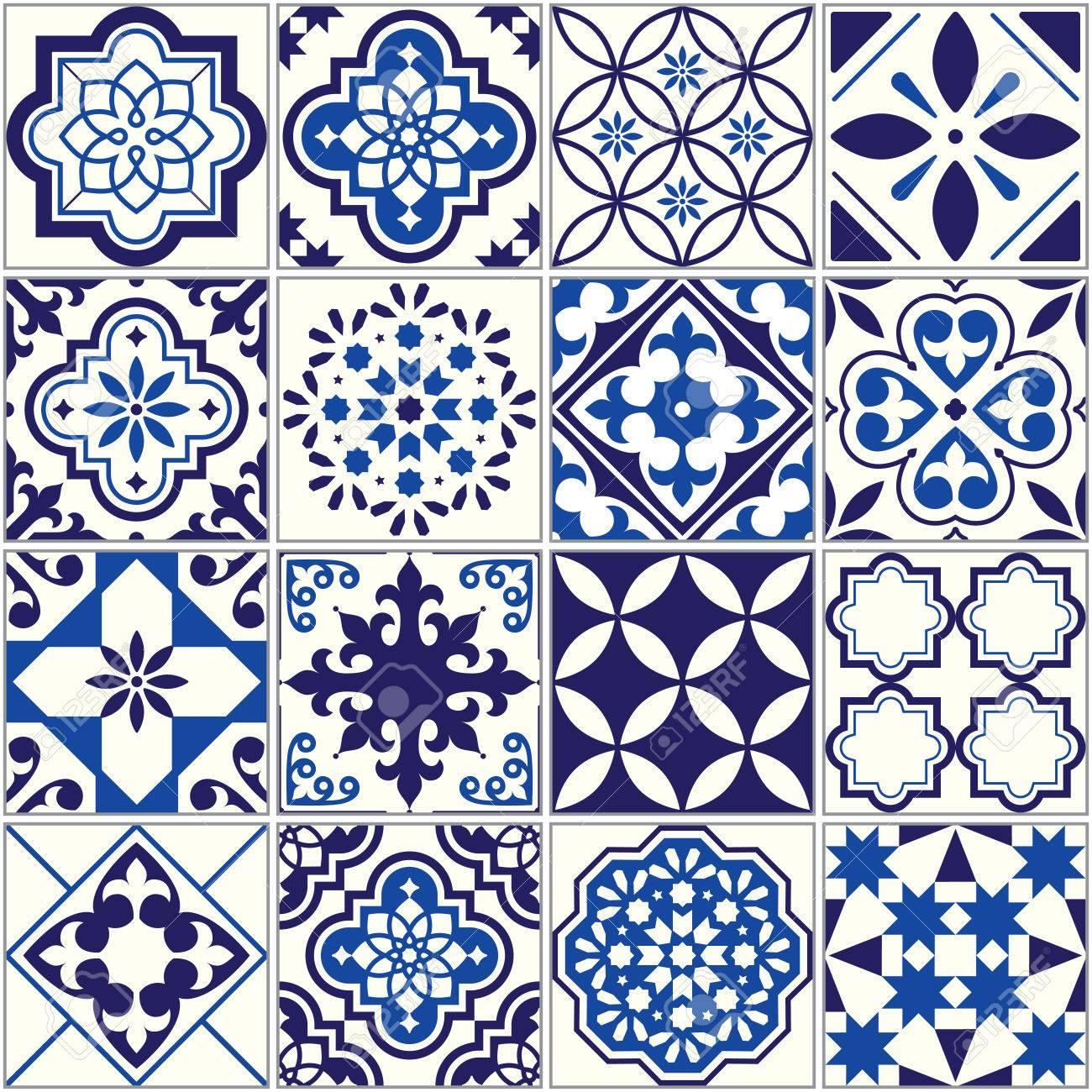 Vector tile pattern, Lisbon floral mosaic, Mediterranean seamless navy blue ornament - 81635676