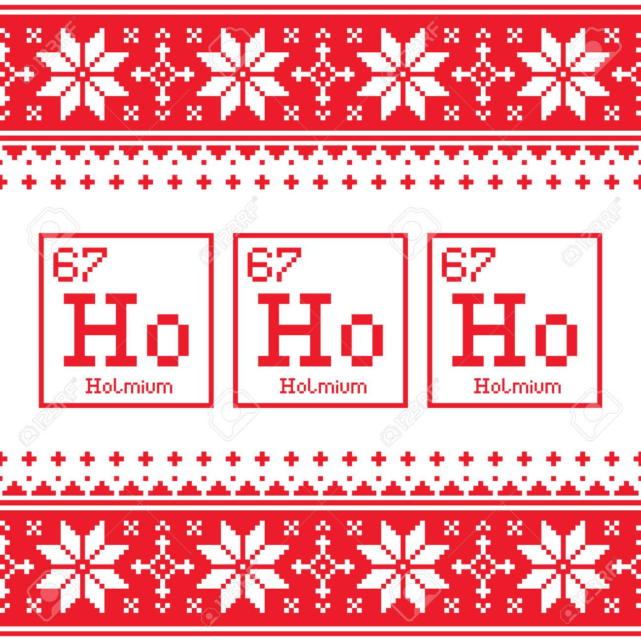 Ugly Christmas Sweaters Patterns.Geek Christmas Seamless Pattern Ho Ho Ho Chemistry Periodic