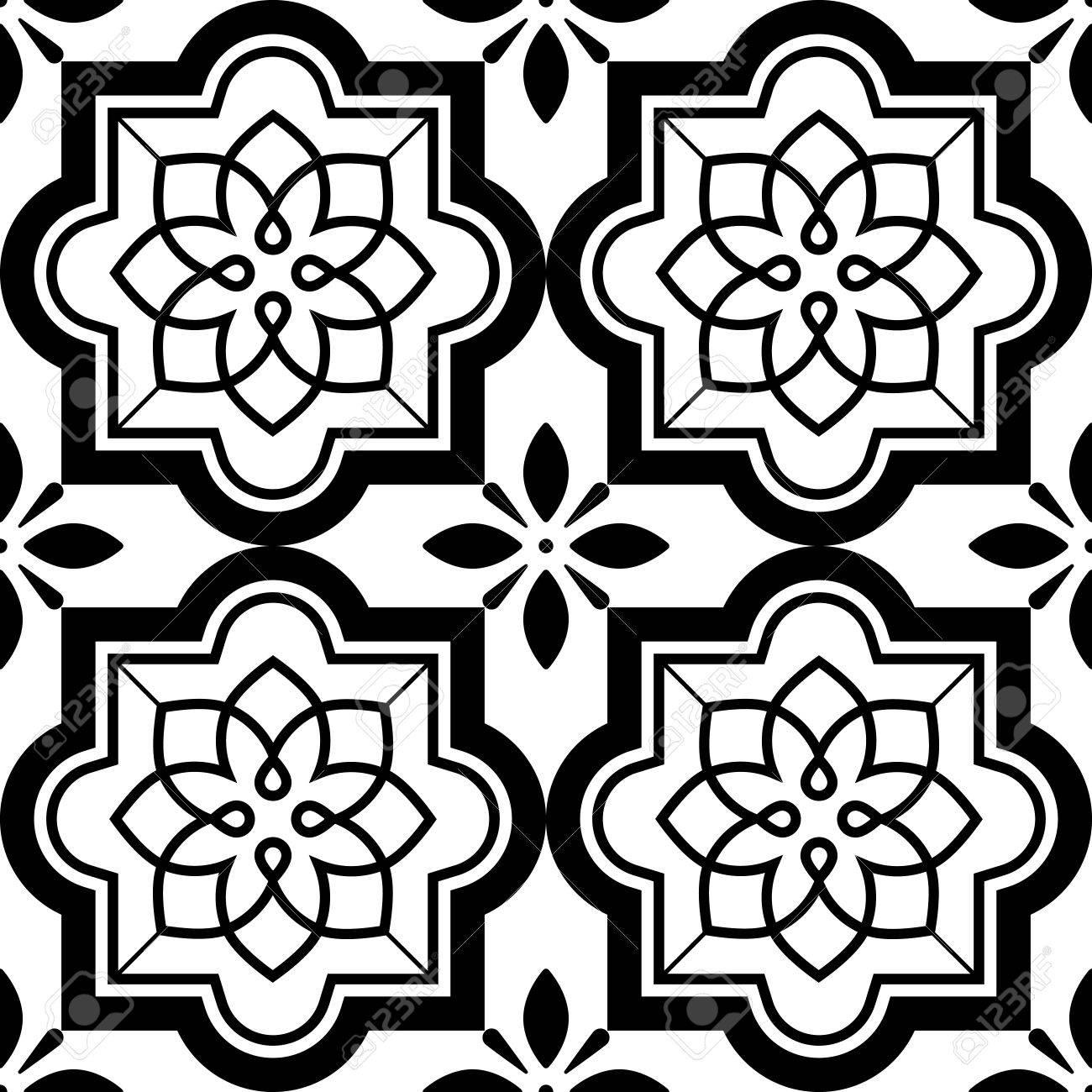 Zwart Wit Tegels.Vector Tegels Patroon Lissabon Bloemen Mozaiek Set Mediterrane