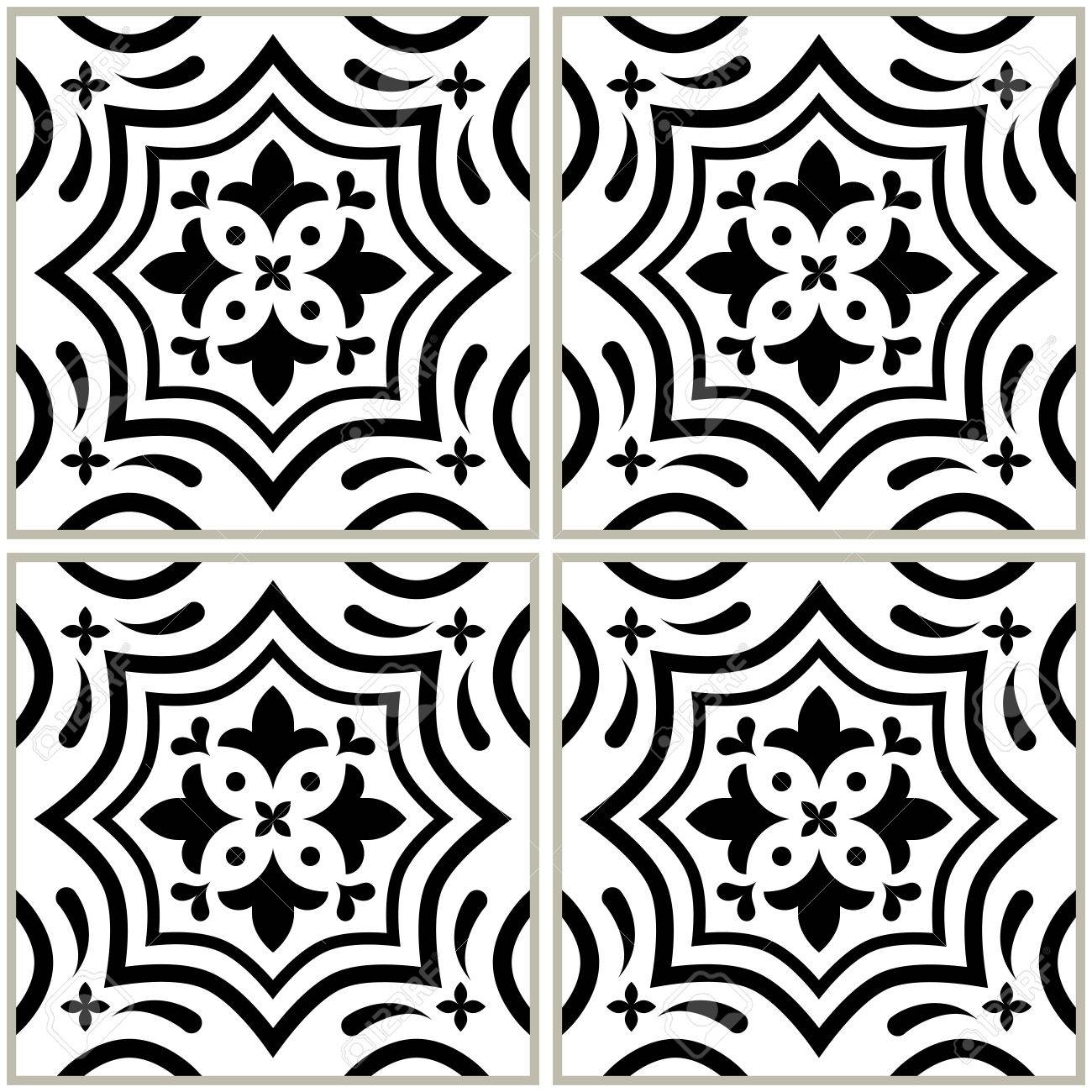 Zwart Wit Tegels.Portugees Tegels Patroon Azulejo Zwart Wit Ontwerp Naadloze