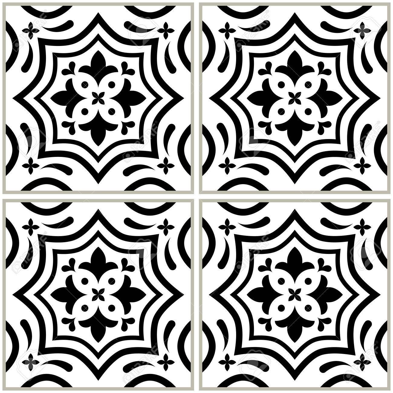 Portugiesische Fliesen Muster Azulejo SchwarzWeißDesign - Portugiesische fliesen bilder