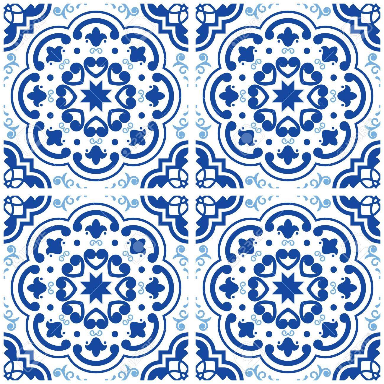 Azulejos Portuguese Tile Floor Pattern, Lisbon Seamless Indigo ...
