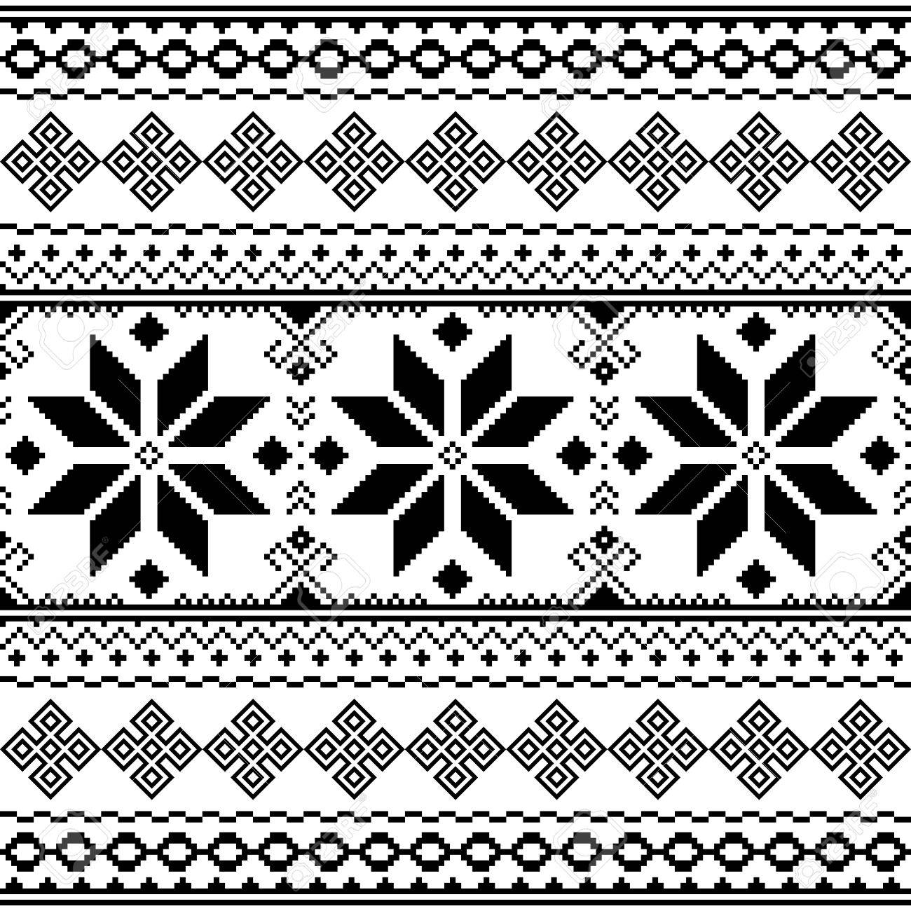 Patrón De Bordado Negro Tradicional Ilustraciones Vectoriales, Clip ...