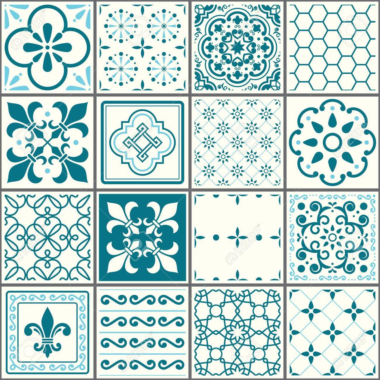 Motif De Carrelage Portugais Carreaux Turquoise Sans Soudure De Lisbonne Design Ceramique Geometrique Vintage Azulejos Clip Art Libres De Droits Vecteurs Et Illustration Image 84628624