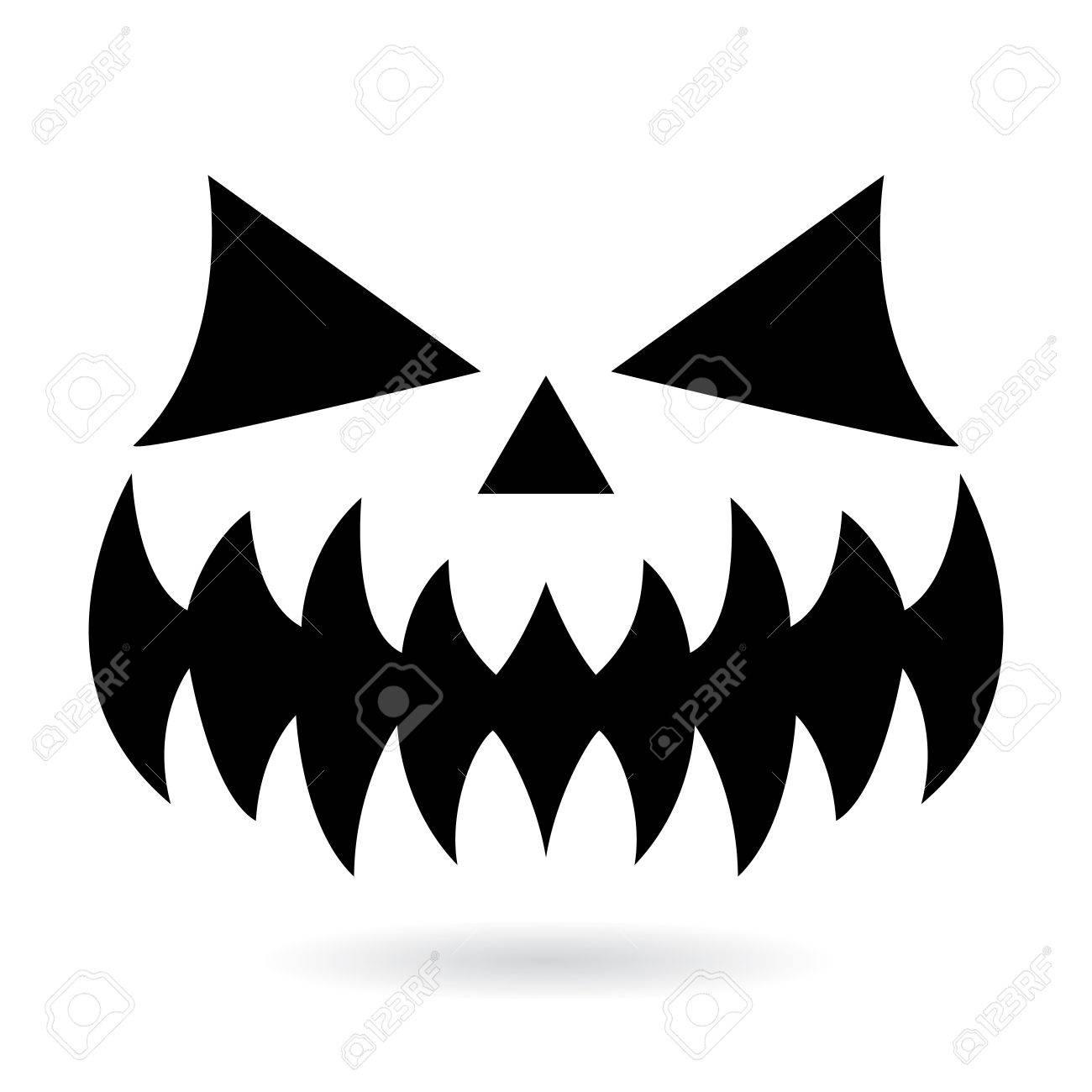 Effrayant Halloween Citrouille Visage Vector Design Icône De La Bouche Fantôme Ou Monstre Avec Des Yeux Effrayants Nez Et Grandes Dents