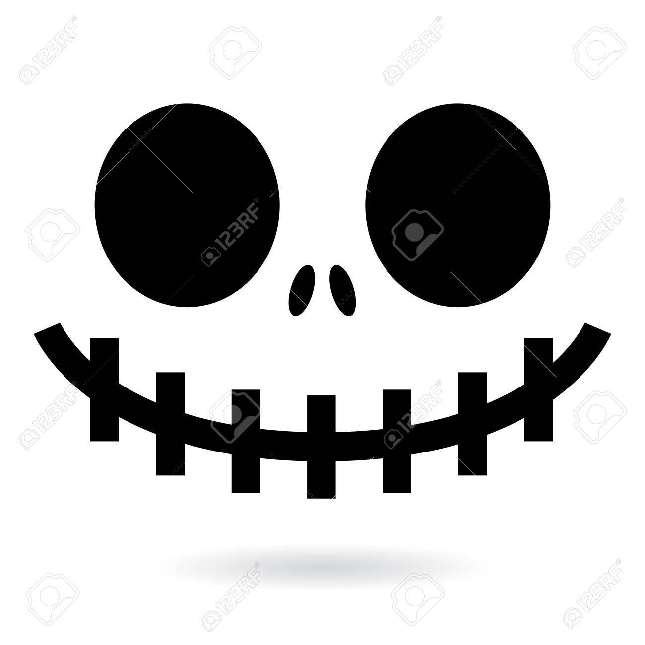 Effrayant Halloween Fantôme Ou Conception De Vecteur De Visage De Citrouille Icône De Bouche De Monstre Avec Des Yeux Fantasmagoriques Le Nez Et De