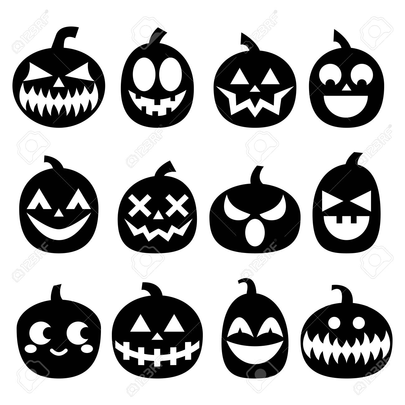 Les icônes de vecteur de citrouille ensemble, les dessins effrayants de  halloween, la décoration d\u0027horreur en noir sur fond blanc