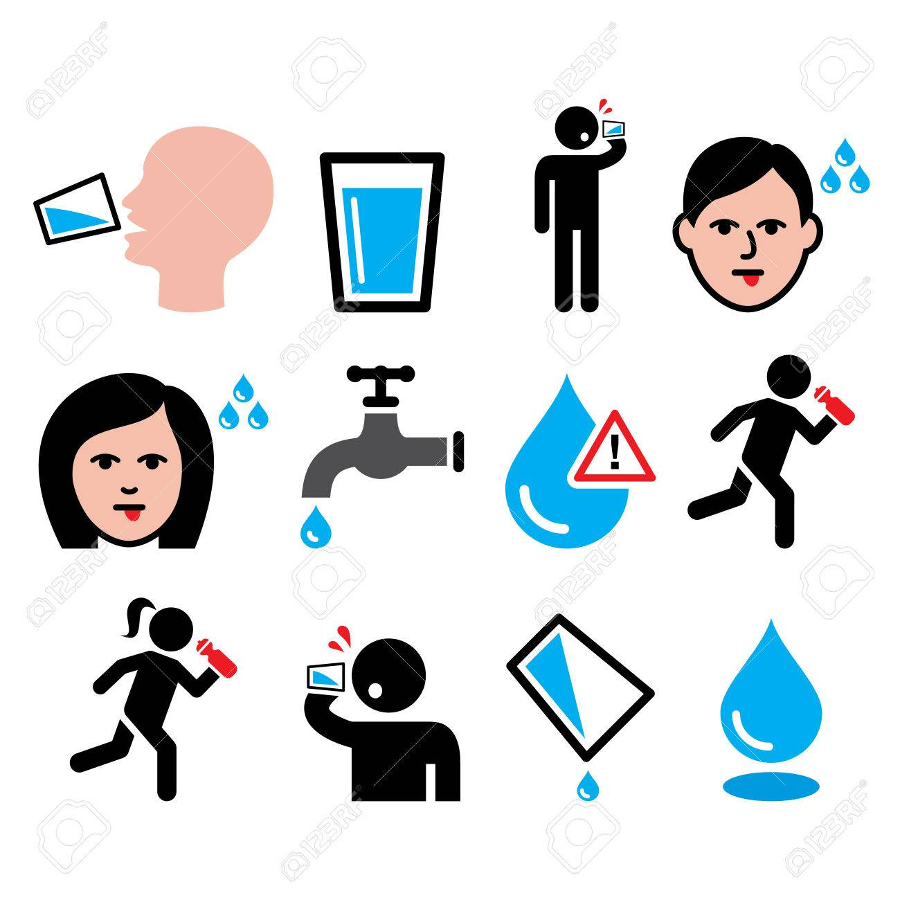 thirsty man dry mouth thirst people drinking water icons set