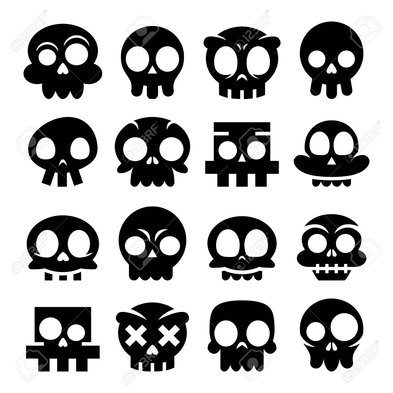 Iconos De Calavera De Dibujos Animados De Vector De Halloween