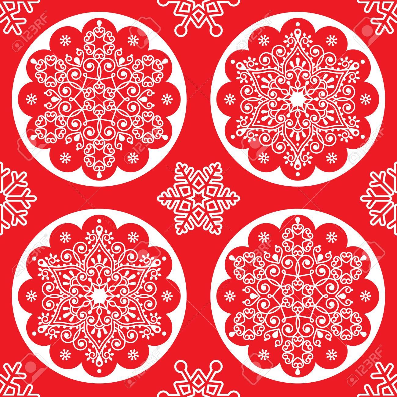 Noël Vecteur Folk Pattern Blanc Flocon De Neige Mandala Design Sans Couture Sur Rouge Style Scandinave Noël Fond Décran
