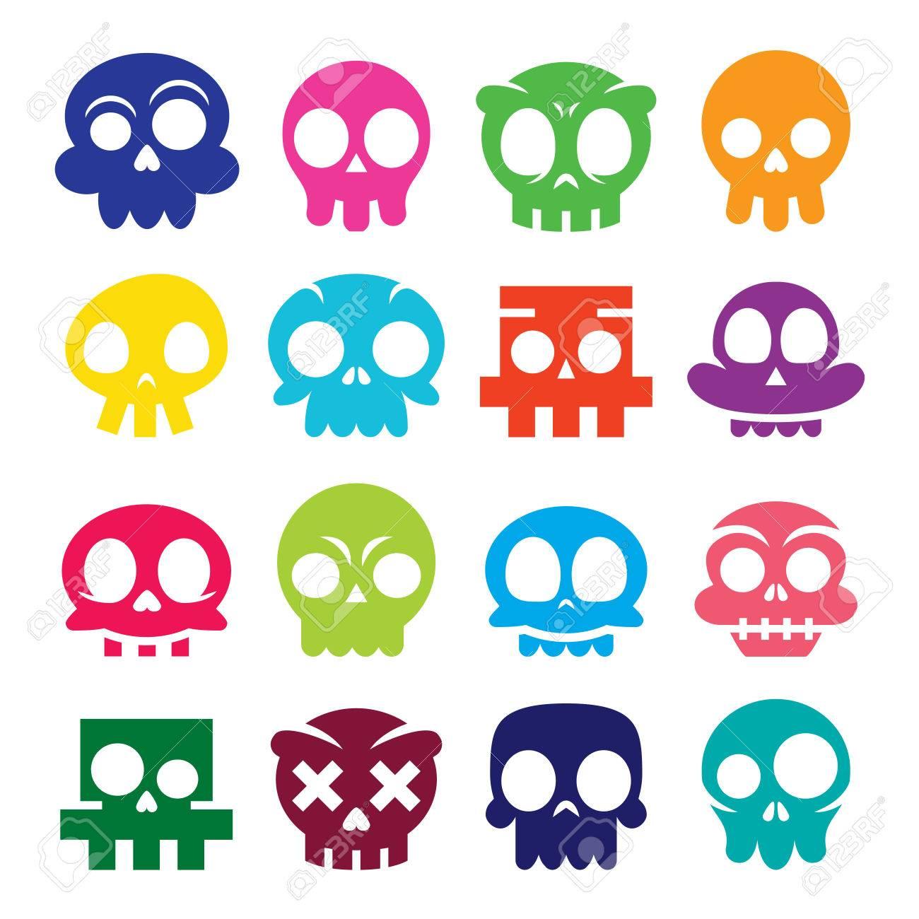 Iconos De Calavera De Dibujos Animados Vector De Halloween Conjunto