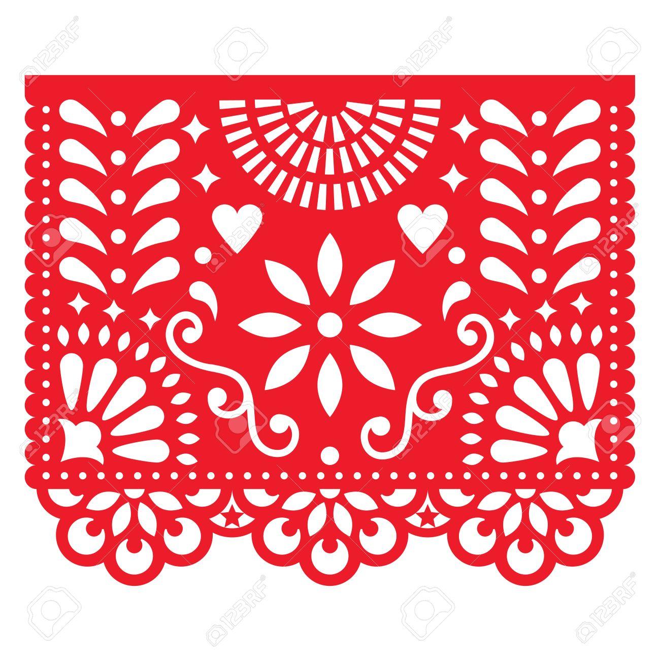Decorations De Papier Mexicaines Design De Papier Picado Banniere De Fete Traditionnelle Inspiree Des Guirlandes Au Mexique Clip Art Libres De Droits Vecteurs Et Illustration Image 86157013