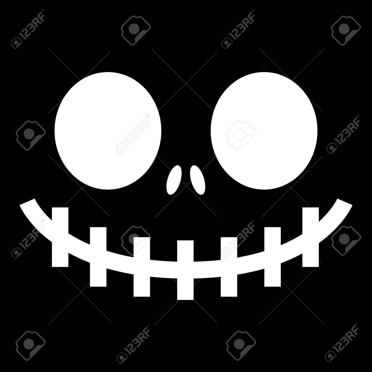 scary halloween ghost or pumpkin face vector design monster mouth icon with spooky eyes