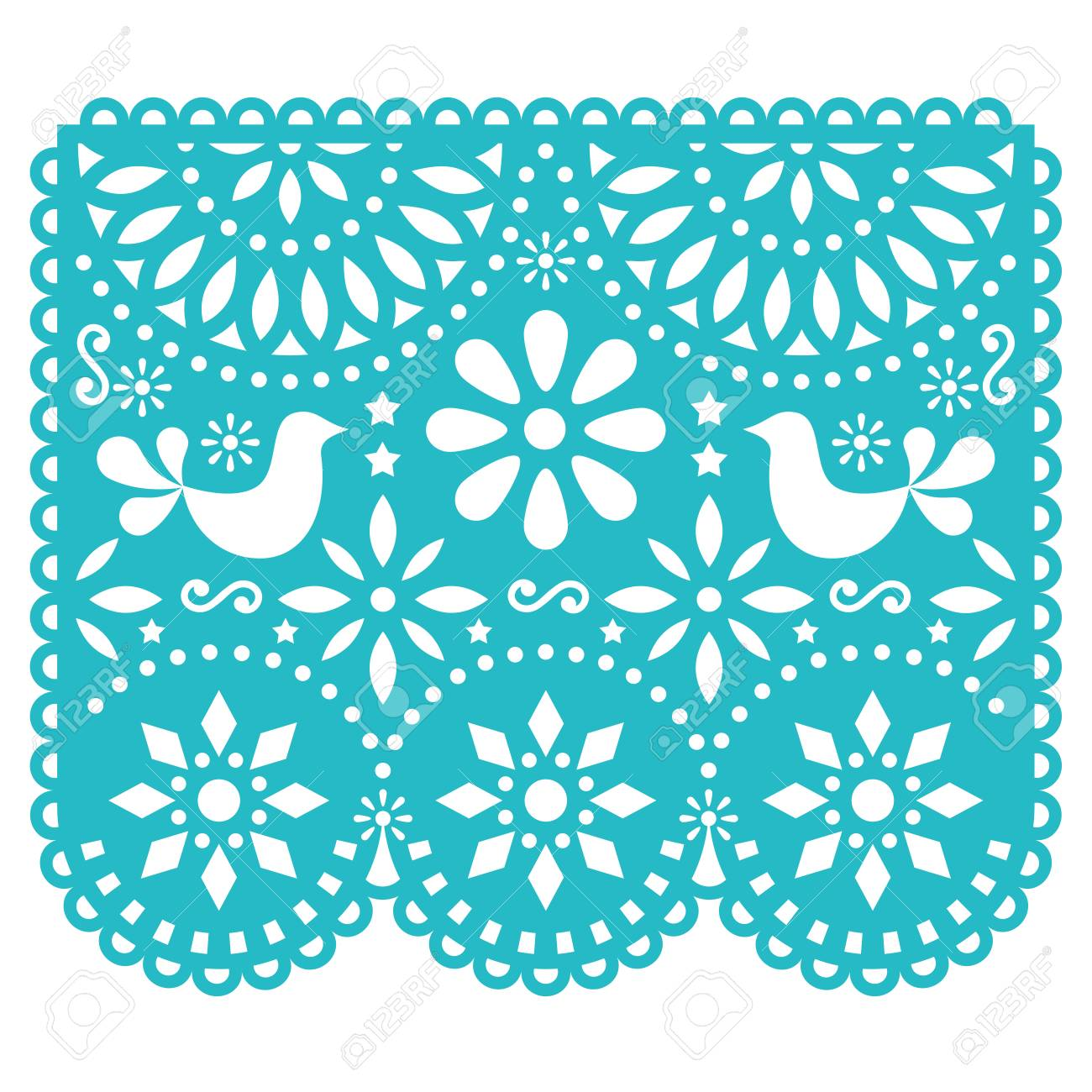 Papel Picado vector design template, Mexican paper decorations with flowers and birds, traditional fiesta banner in turquoise - 86814938