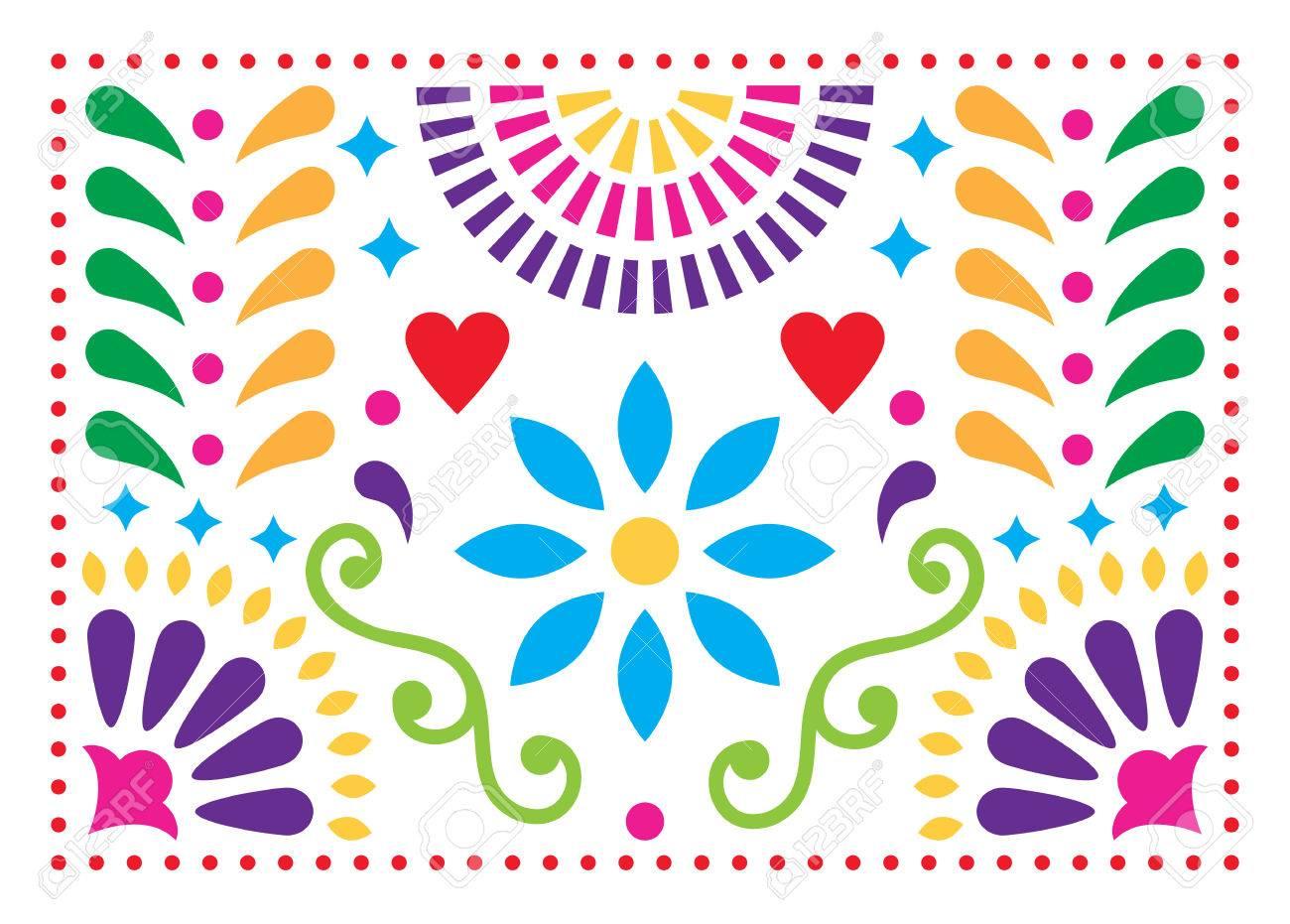 Patrón De Vector De Arte Popular Mexicano, Diseño Colorido Con ...