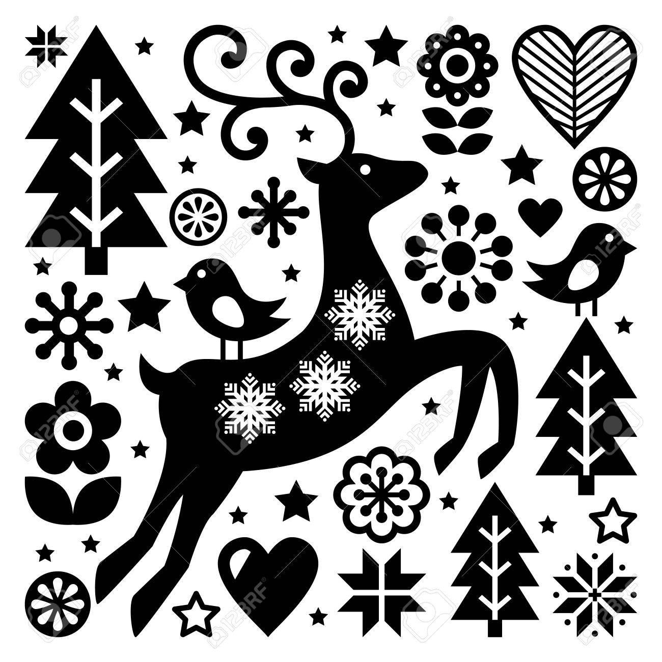 Modèle Vectoriel Noir Et Blanc De Noël Art Folklorique Scandinave Rennes Oiseaux Et Fleurs Décoration Ou Carte De Vux