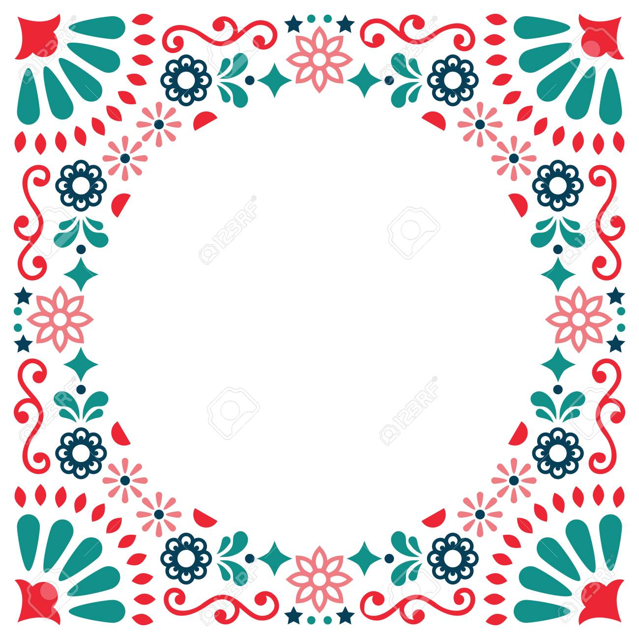 Mexican Folk Vector Greeting Card Wedding Or Party Invitation Decoration Floral And Border Abstract: Mexican Wedding Invitation Backgrounds At Reisefeber.org