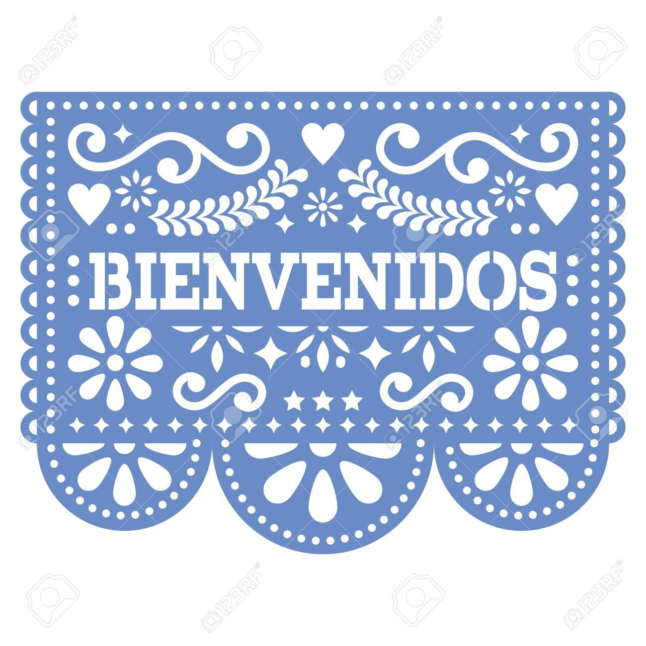 Papel Picado Bienvenidos Vector Design Mexican Welcome Paper