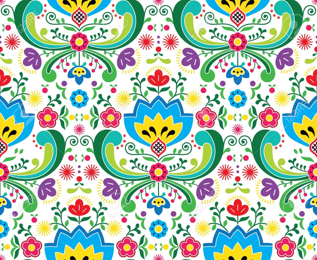 Norwegian folk art vector seamless pattern - Rosemaling style embroidery design - 89707079
